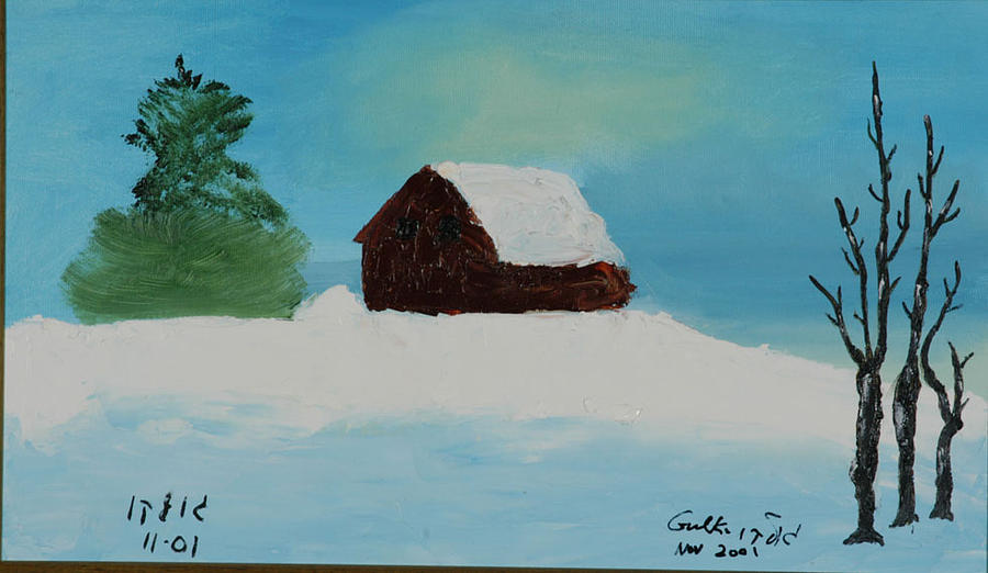 Winter Painting - Cabin In Vermont by Harris Gulko