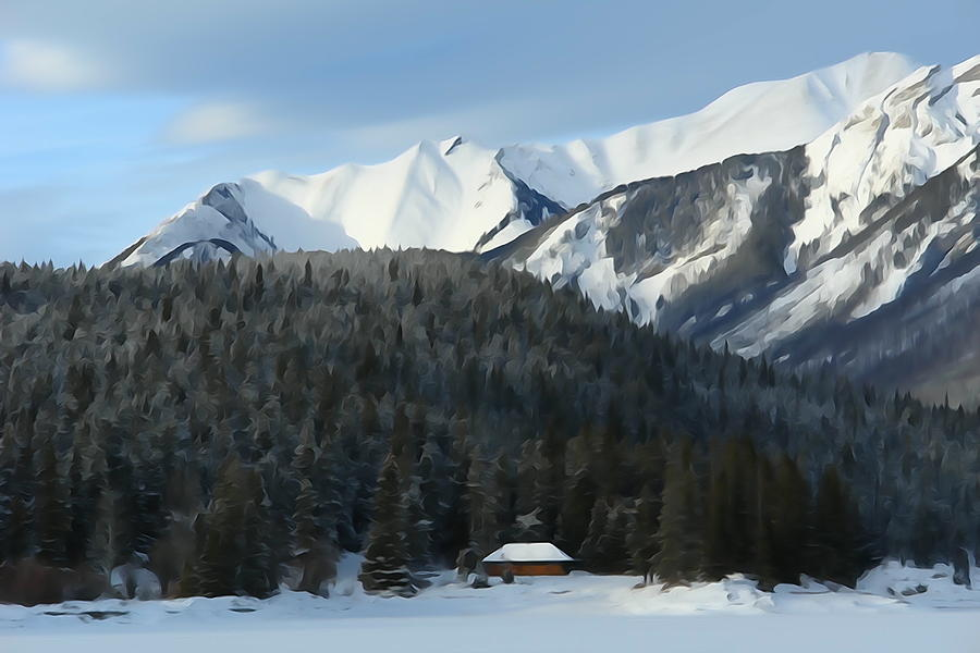 Mountain Scene Photograph - Cabin On Frozen Lake by Greg Hammond