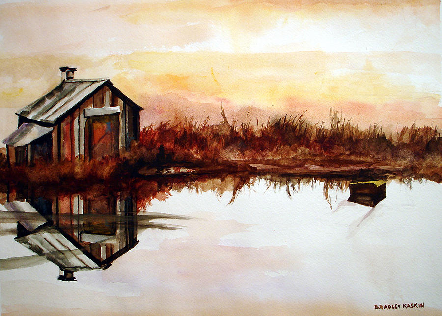 Rustic Cabins Painting - Cabin On The Lake by Bradley Kaskin