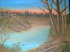 Cabin On The Lake Painting by Doris Burnham
