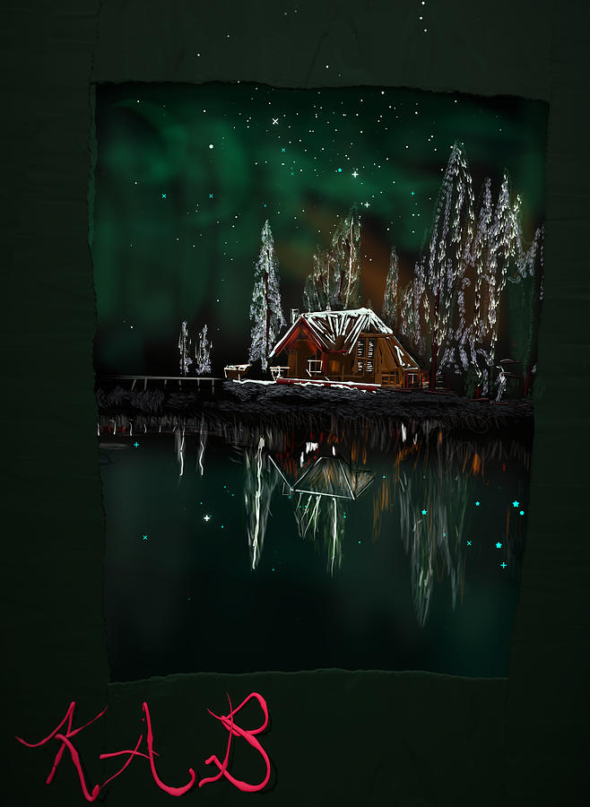 Cabin Digital Art - Cabin on the Lake by Kab