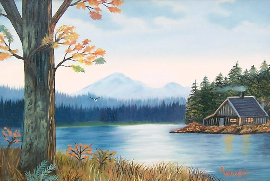 Delicieux Landscape Painting   Cabin On The River By Ruth Housley