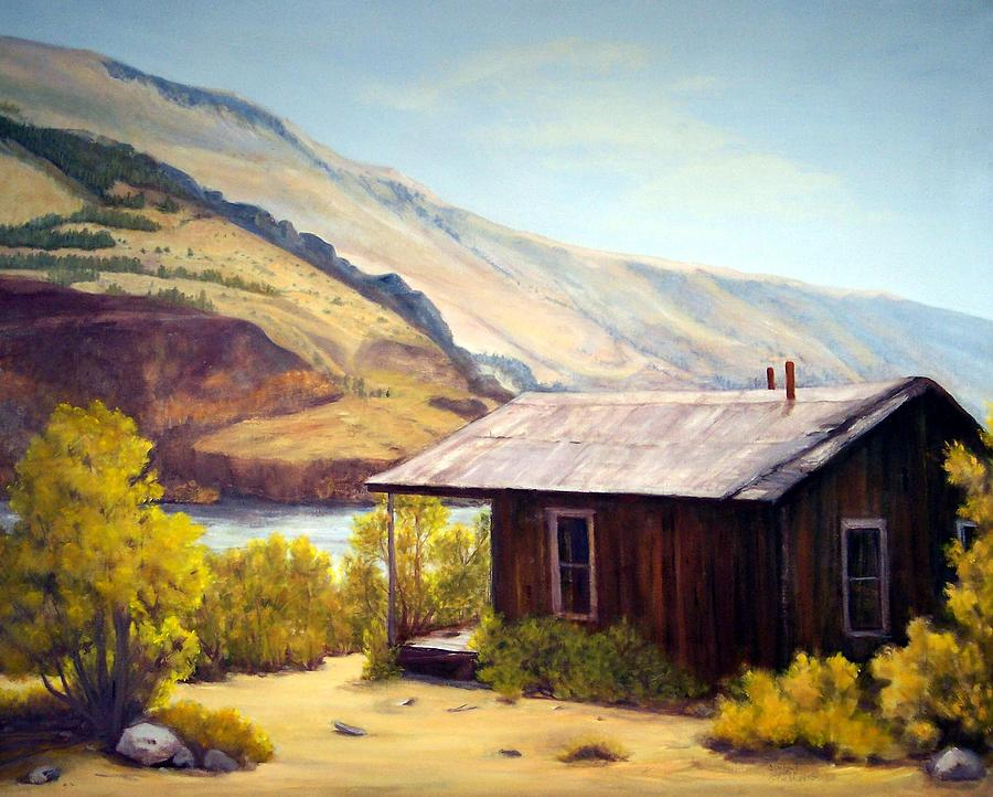 Ghost Town Painting - Cabin On The Snake River Ghost Town Of Holmstead Oregon by Evelyne Boynton Grierson