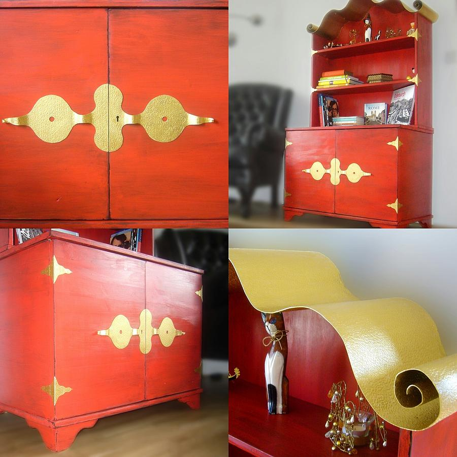 Wood Furniture Mixed Media - Cabinet and Shelves - Red Nonconformist by Tahir Tahirov