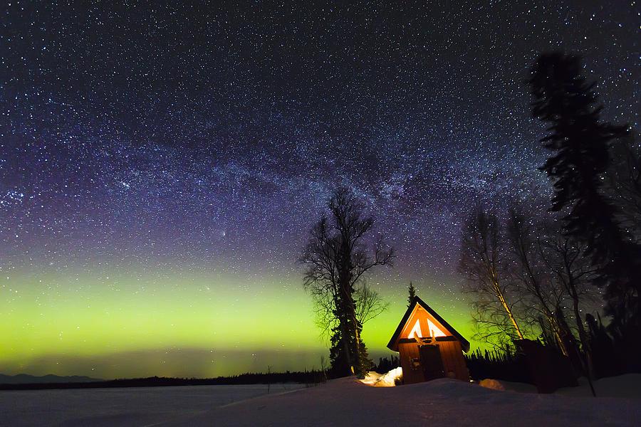 Alaska Photograph - Cabins Glow by Ed Boudreau