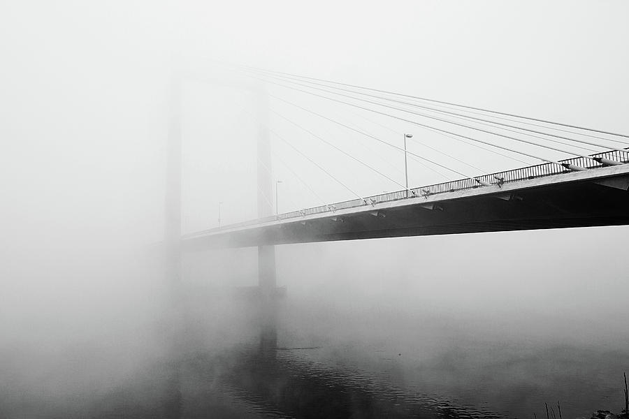 Horizontal Photograph - Cable Bridge Disappears In Fog by Photos by Sonja