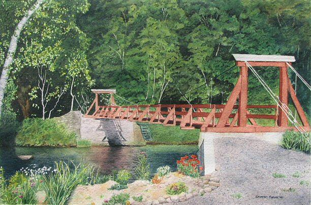 Bridge Painting - Cable Bridge by Sharon Farber