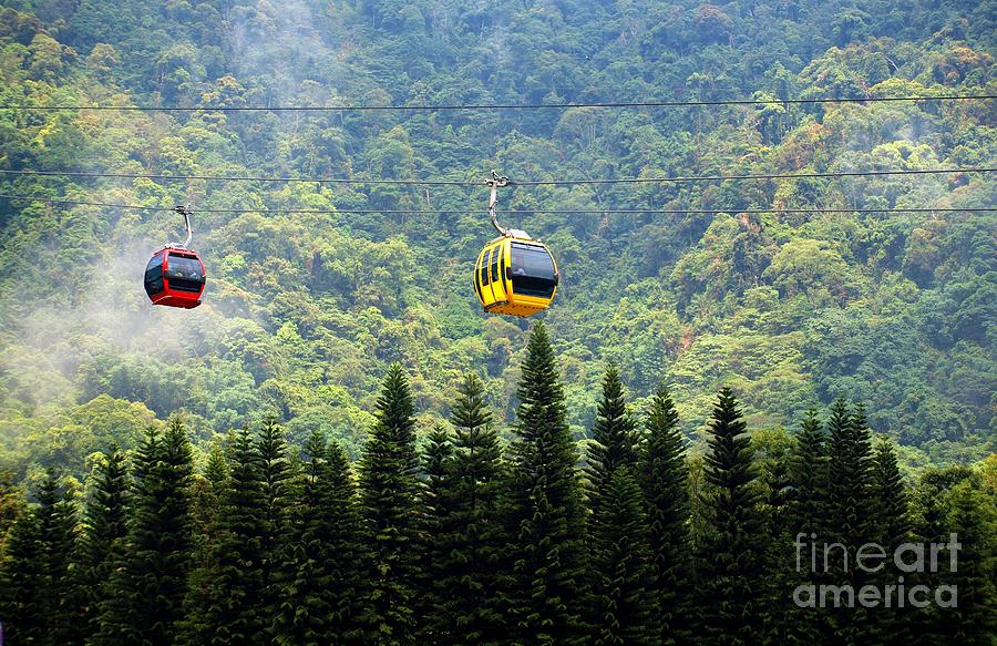 Cable Car Photograph - Cable Car Passes By A Mountain Slope by Yali Shi