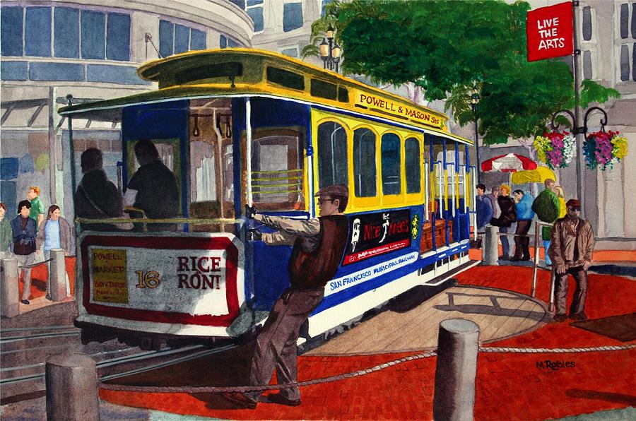 Cable car turntable at powell and market sts painting by for Car turntable plans
