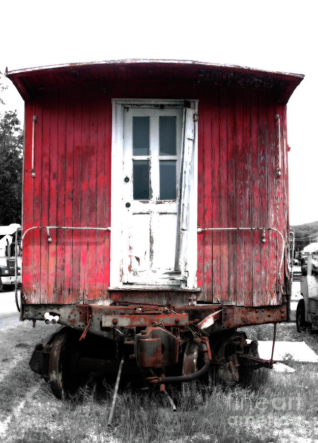 Train Photograph - Caboose In Barn Red  by Steven Digman