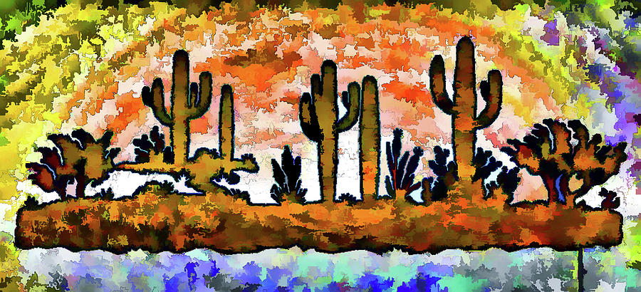 cactus art abstract painterly i digital art by linda brody