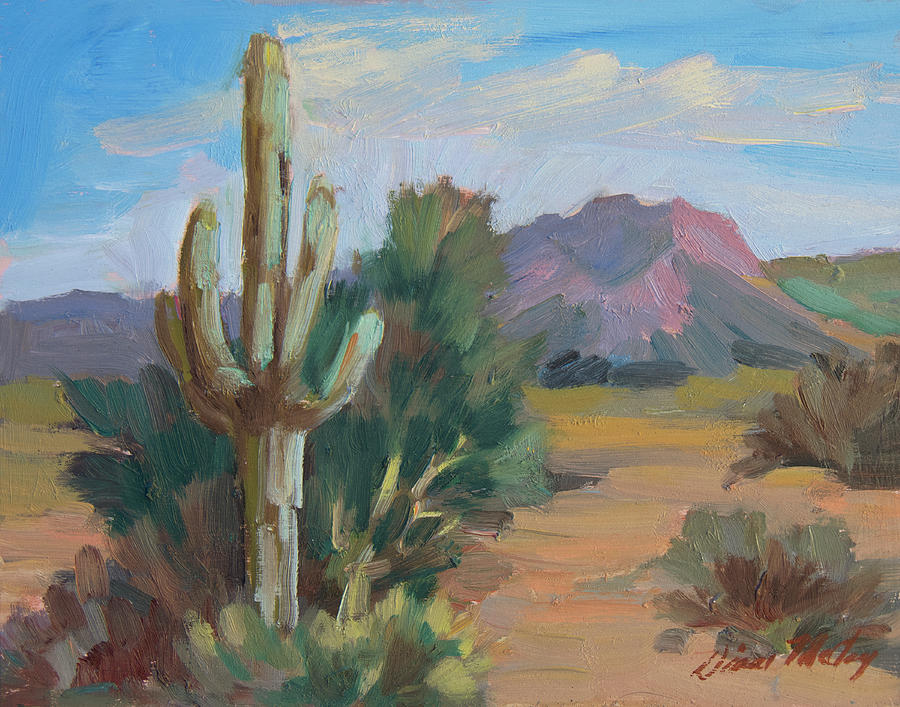 Plein Air Painting - Cactus By The Red Mountains by Diane McClary