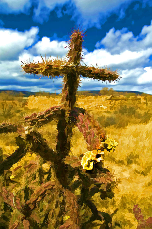 Southwest Photograph - Cactus Cross by Lou  Novick