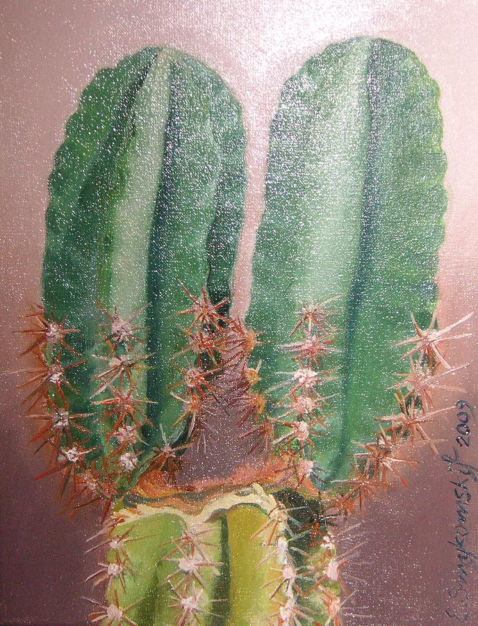 Cactus Painting by Ewald Smykomsky Beyond Gallery Cafe of Kathlin Austin