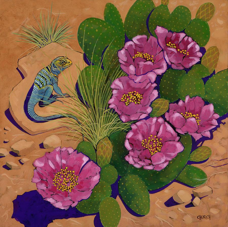 Desert Painting - Cactus Flower Lizard by Ken Church
