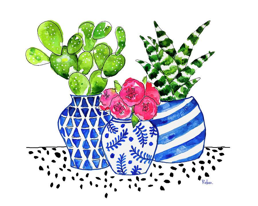 Cactus Garden Painting - Cactus Garden by Roleen Senic