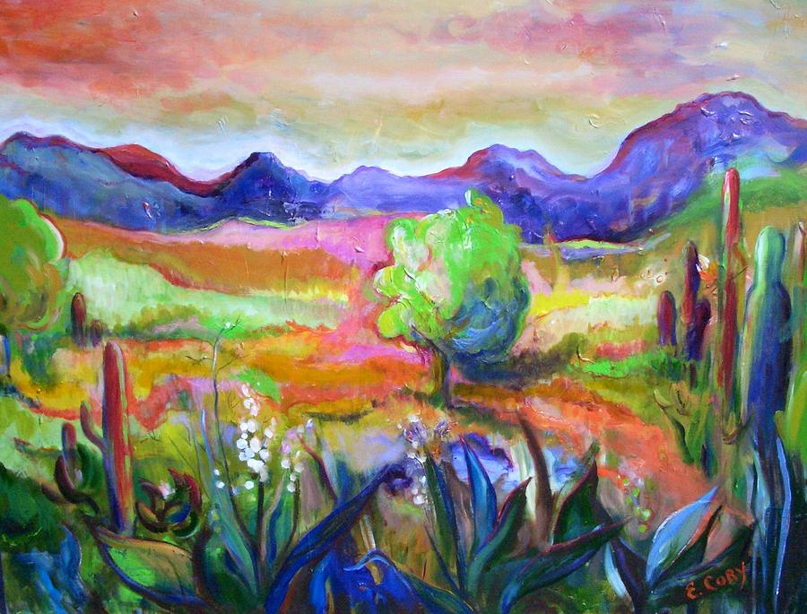 Landscape Painting - Cactus Spring by Elaine Cory