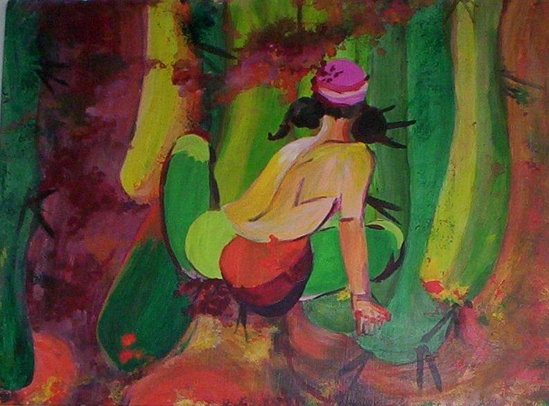 Reds Painting - Cactus Woman by Georgia Annwell