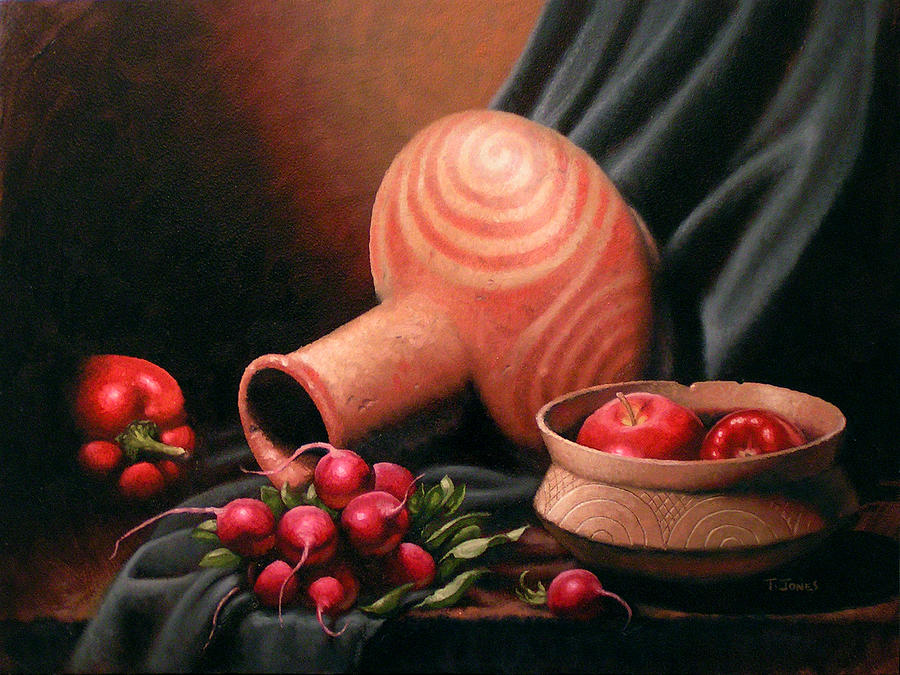Still Life Painting - Caddo Jar - Red Study by Timothy Jones