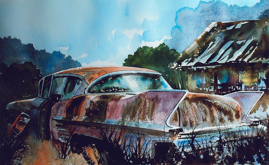 Caddy Painting - Caddy Subsiding by Ron Morrison
