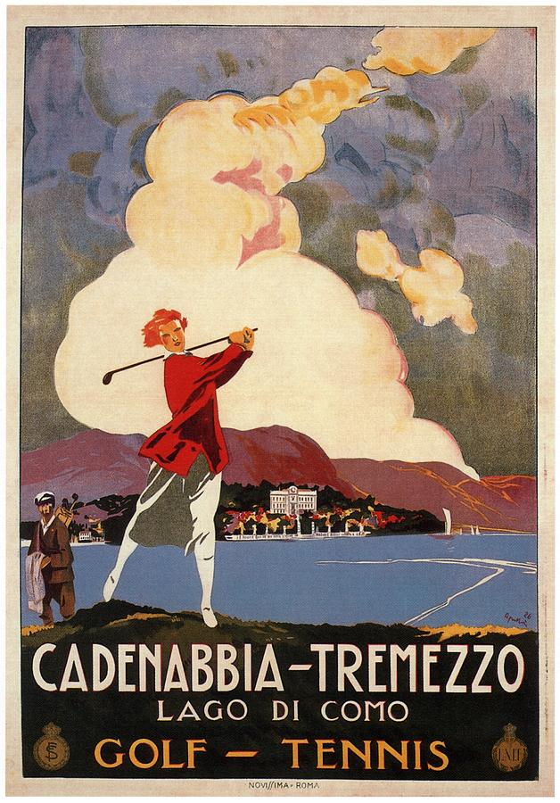 Cadenabbia Tremezzo, Golf And Tennis - Golf Club - Retro Travel Poster - Vintage Poster Mixed Media