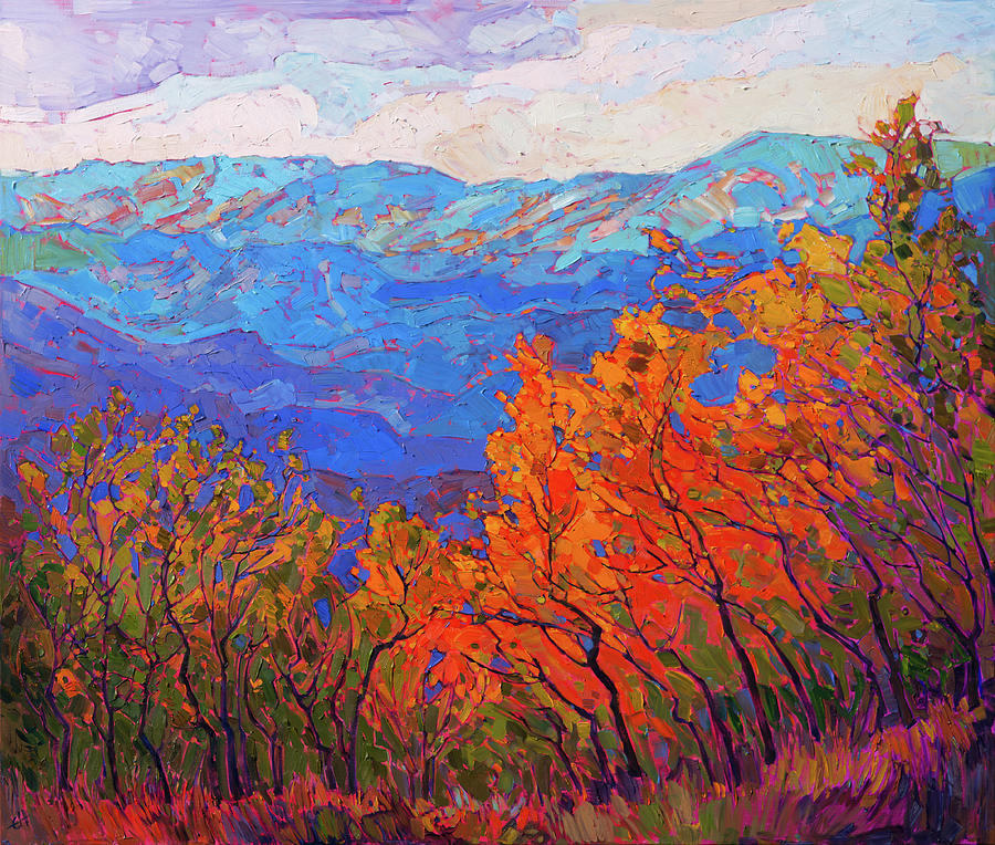 Fall Colors Painting - Cadmium Flame by Erin Hanson