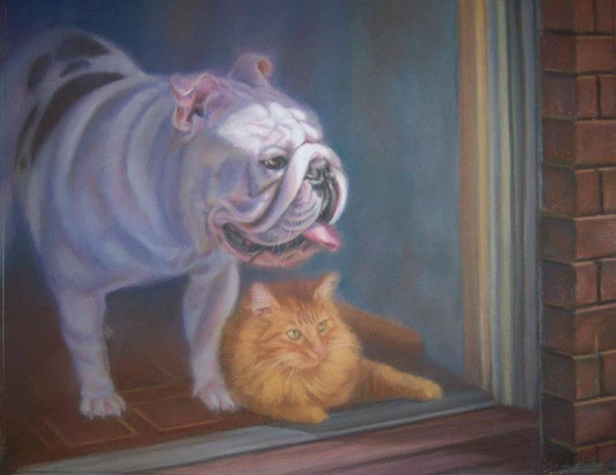 English Bulldogs Painting - Caesar and Lily by Diane Caudle