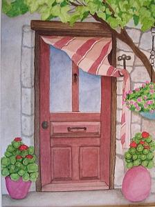 Door Painting - Cafe by Robin MacKenzie