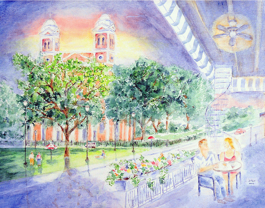 Cafe at Cathedral Square by Jerry Fair