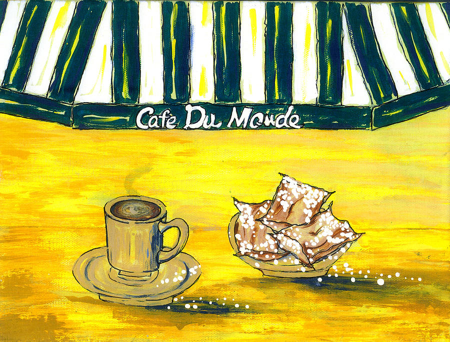 Coffee And Donuts Painting - Cafe Au Lait And Beignets On Yellow Background by Catherine Wilson