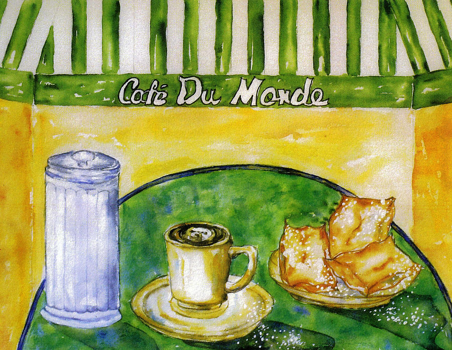 Coffee Painting - Cafe Au Lait And Beignets With Sugar by Catherine Wilson