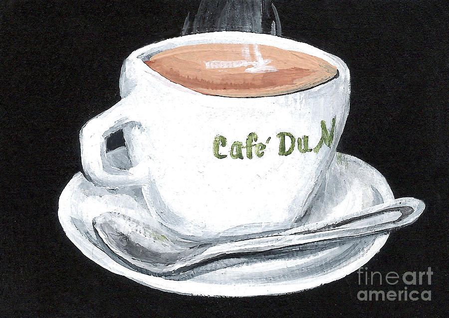 Coffee Painting - Cafe Au Lait by Elaine Hodges