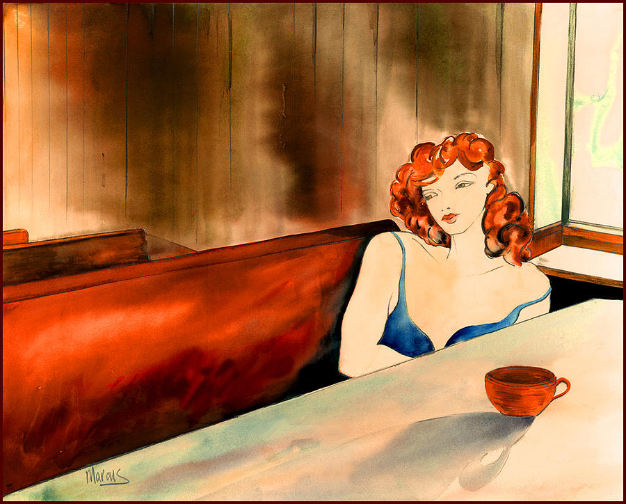 Female Painting - Cafe Au Lait by Leslie Marcus
