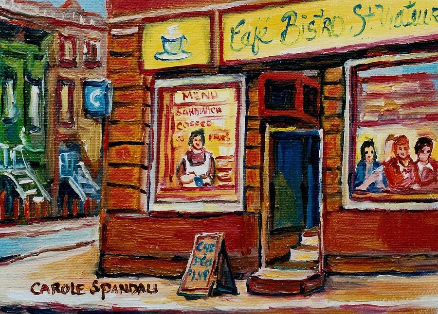 Cafe Bistro St.viateur Painting - Cafe Bistro St. Viateur by Carole Spandau