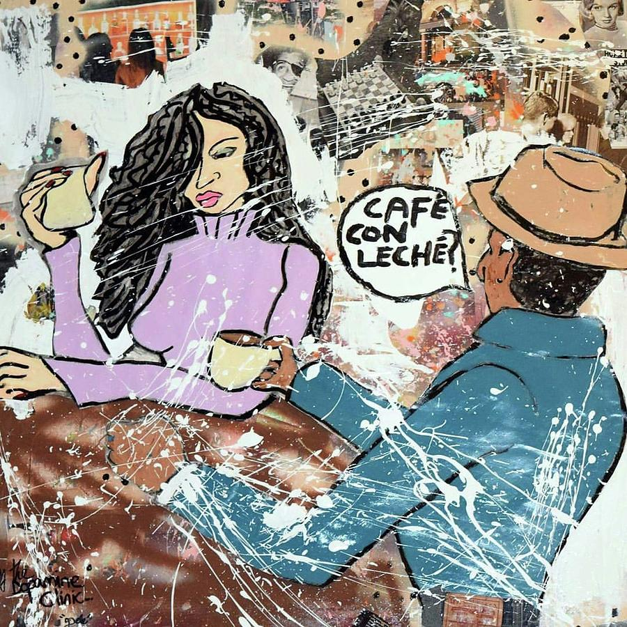 Cafe Con Leche Mixed Media by Dele Akerejah
