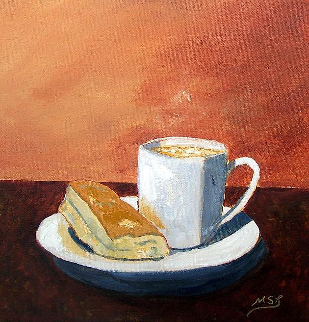 Cuban Coffee Painting - Cafe Con Leche Y Tostada by Maria Soto Robbins