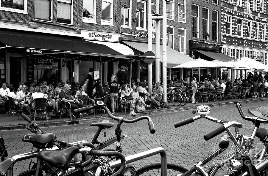 Cafe Photograph - Cafe Crowds In Amsterdam Mono by John Rizzuto