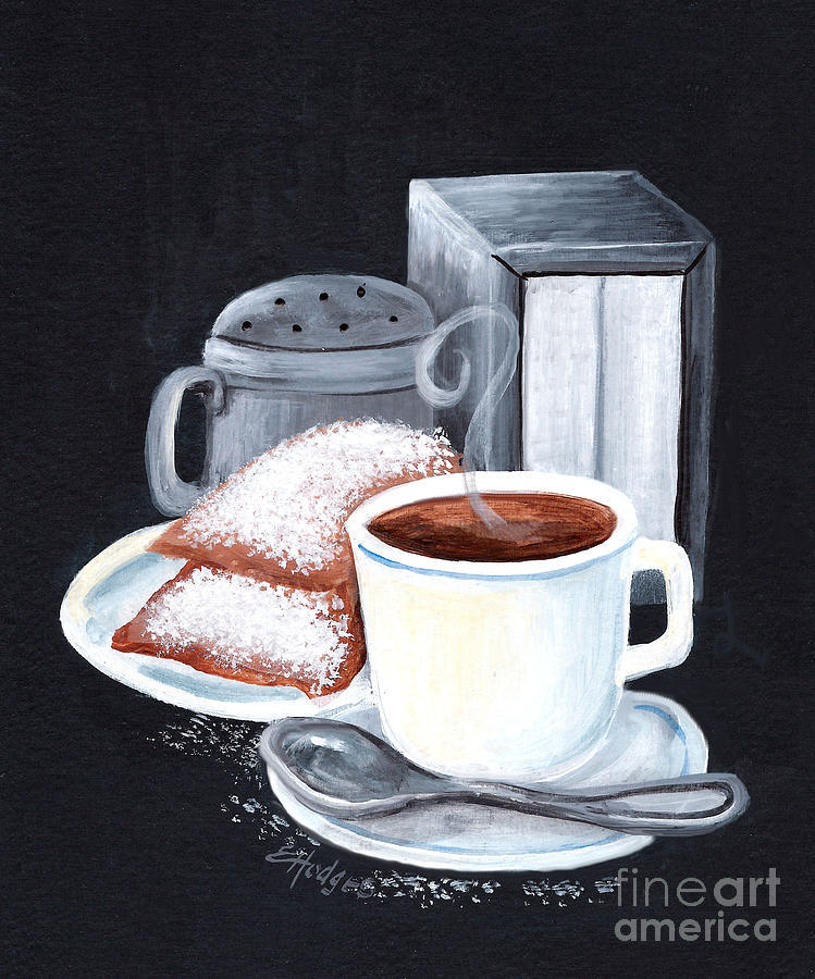 New Orleans Painting - Cafe Du Monde On Black by Elaine Hodges