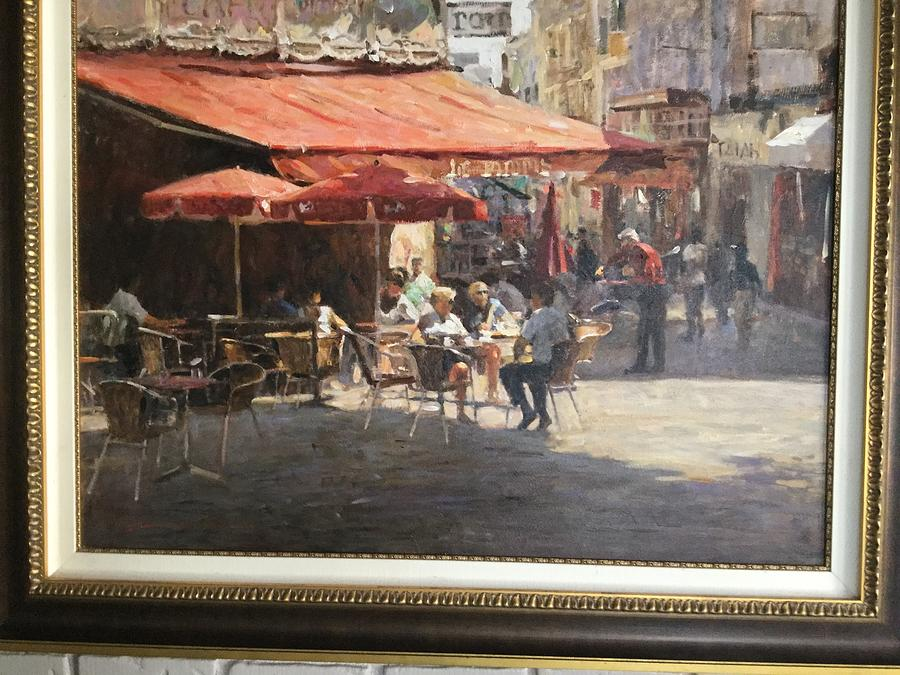 Cafe Et Pasteries Painting by Leonard Wren