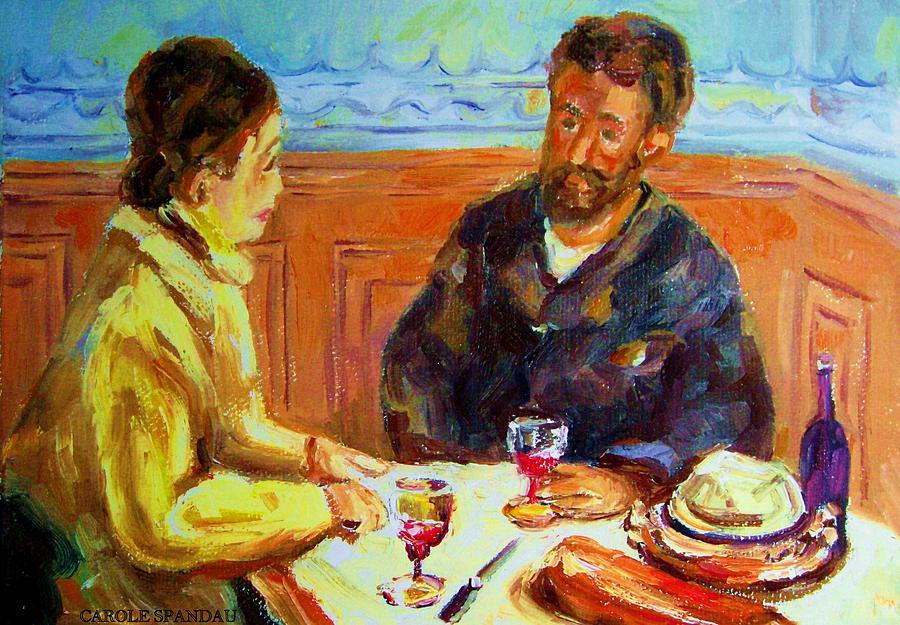 Cafe Scene Painting - Cafe  Homage  De Pierre Auguste by Carole Spandau
