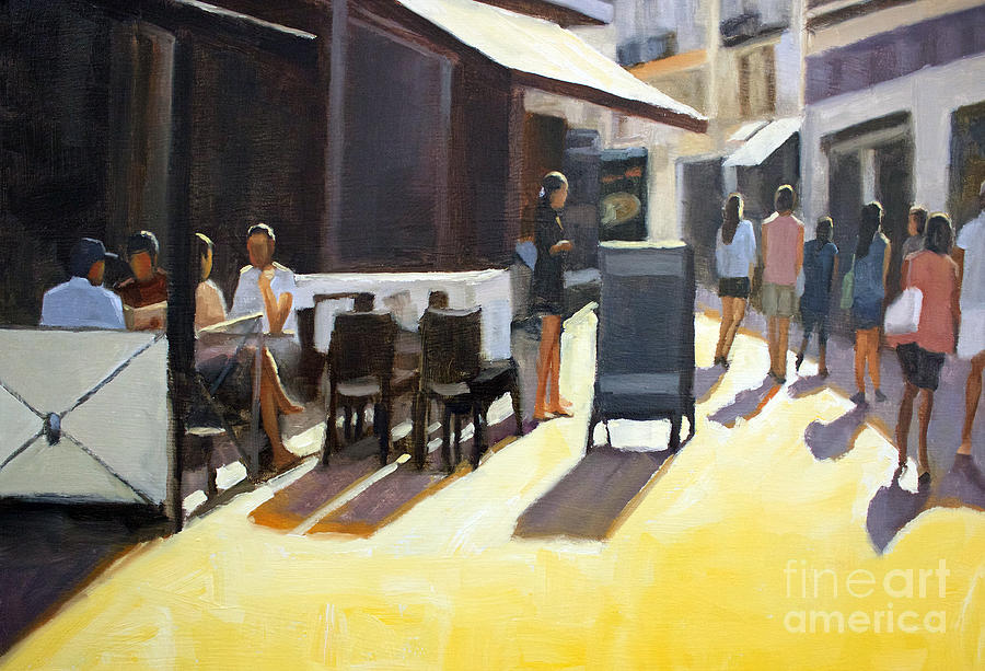France Painting - Cafe In Nice by Tate Hamilton