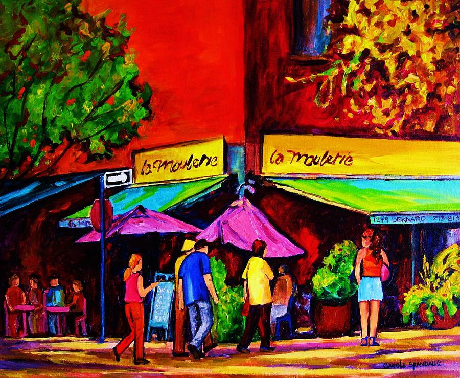 Cafe Scenes Painting - Cafe La Moulerie On Bernard by Carole Spandau