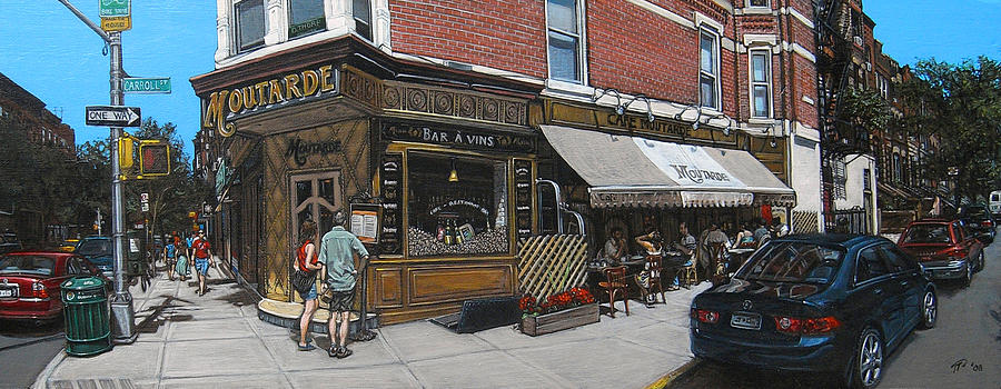 Brooklyn Painting - Cafe Moutarde by Ted Papoulas