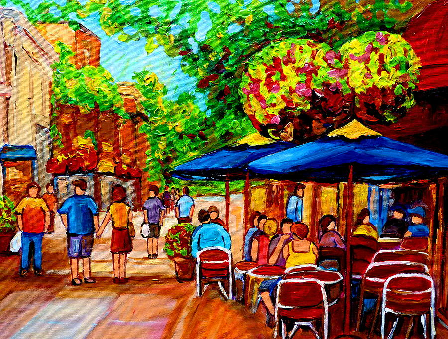 Montreal Painting - Cafe On Prince Arthur  In Montreal  by Carole Spandau