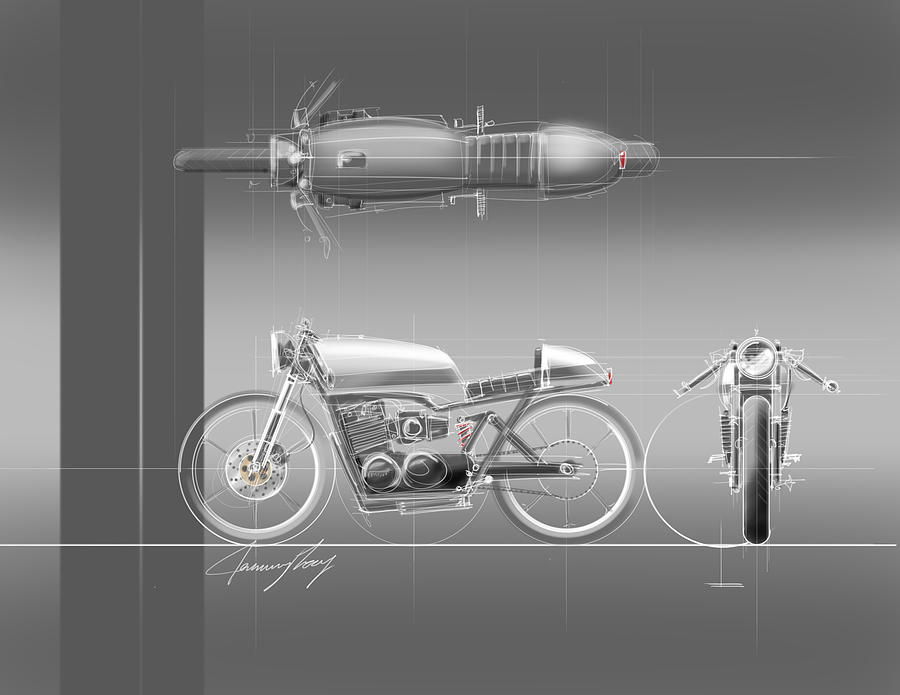 Hot Rod Drawing - Cafe Racer by Jeremy Lacy