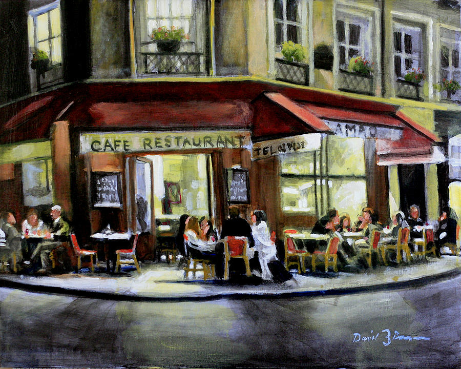 Cafe Regulars Painting by David Zimmerman