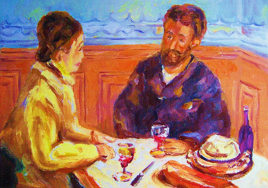 Cafes Painting - Cafe Renoir by Carole Spandau