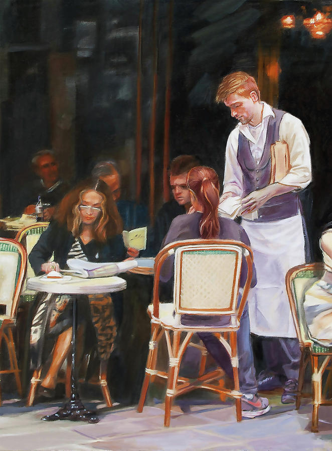 Cafe Painting - Cafe Scene In Paris by Dominique Amendola