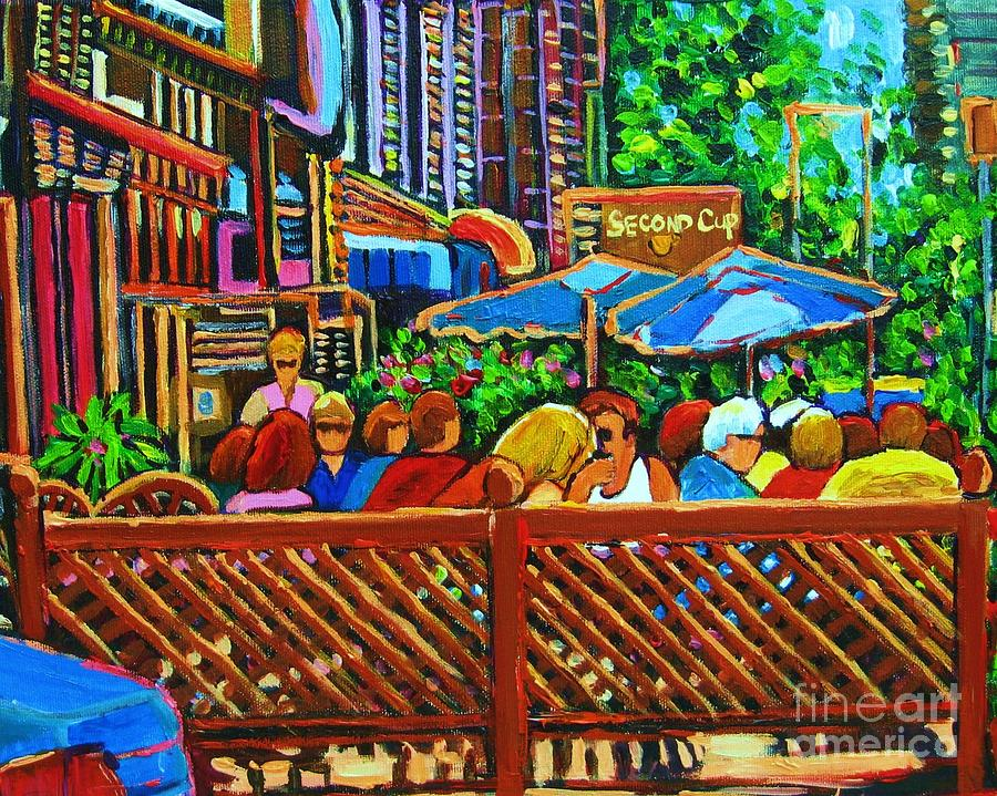 Cafes Painting - Cafe Second Cup by Carole Spandau