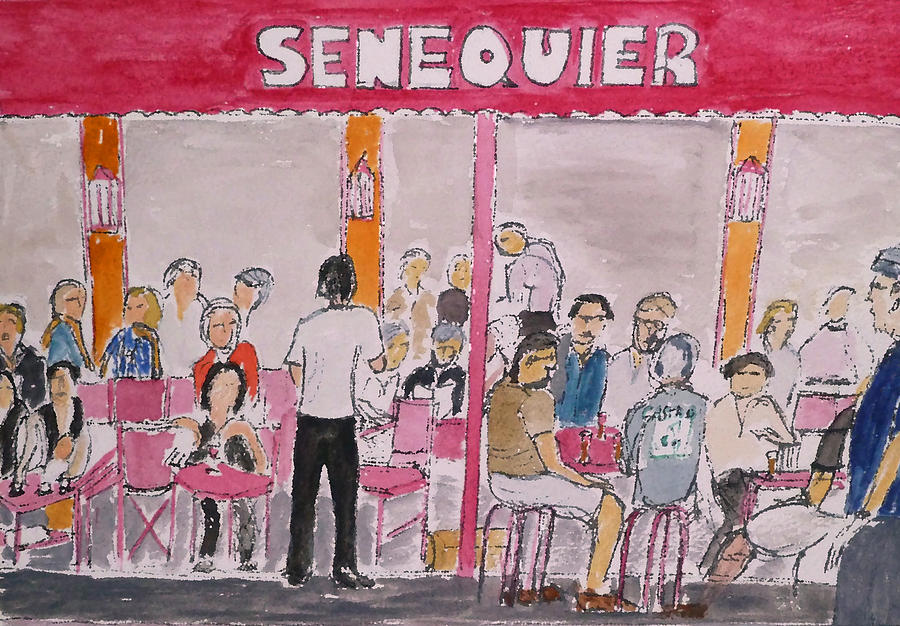 St Tropez Painting - Cafe Senequier St Tropez 2012 by Bill White
